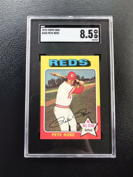 "1975 TOPPS MINI #320 SGC 8.5 PETE ROSE quot;HIT KING"" CIN REDS— TOP 5%💥*** wph $135.00"