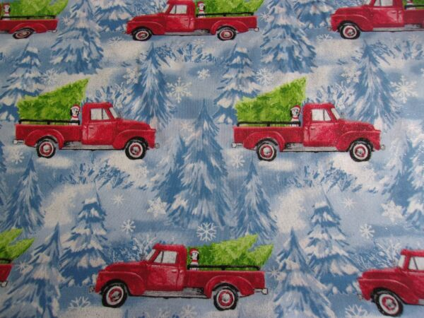 Christmas Red Truck w Dog Blue Glitter Fabric Traditions Quilt Cotton 1 2 YARD $7.85