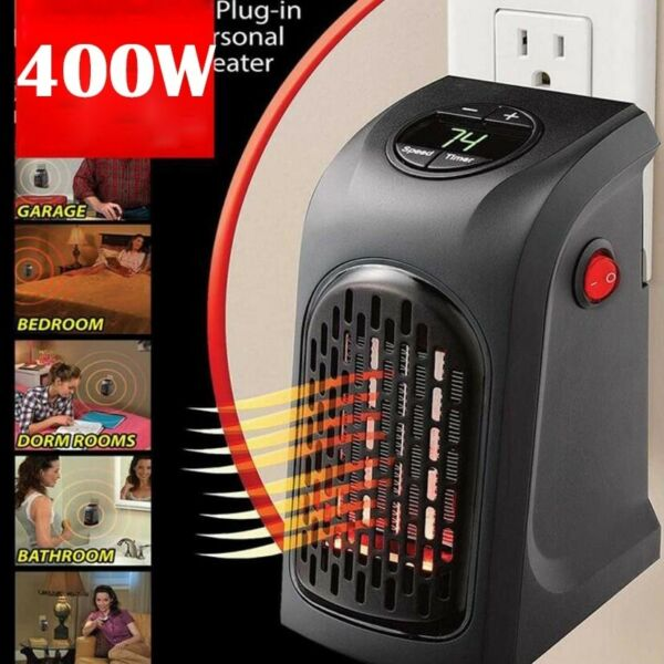 Electric Heater Wall Space Mount 400W MINI Fan Watt Portable Infrared Mounted $24.00