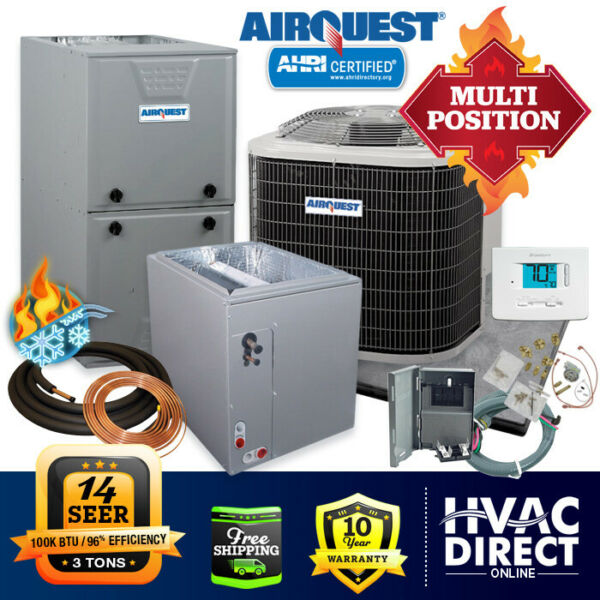 3 Ton AirQuest by Carrier 14 SEER 96% 100K BTU Gas Furnace amp; AC System w LP Kit $3244.00