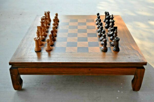 Vintage Chess Set Wood Coffee Table Made in Istanbul Turkey 22quot;