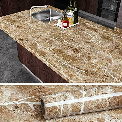 VEELIKE Brown Marble Contact Paper Peel and Stick Countertop Granite Wallpaper