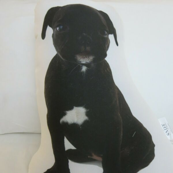 New Black Pug Puppy Dog Shaped Pillow $15.00