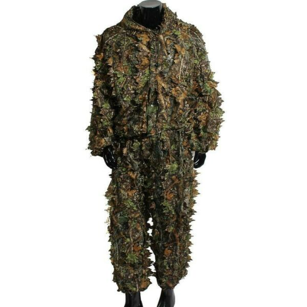 Mens Hunting Camo Suit 3D Tactical Leaf Camouflage Jungle Woodland Outfits US