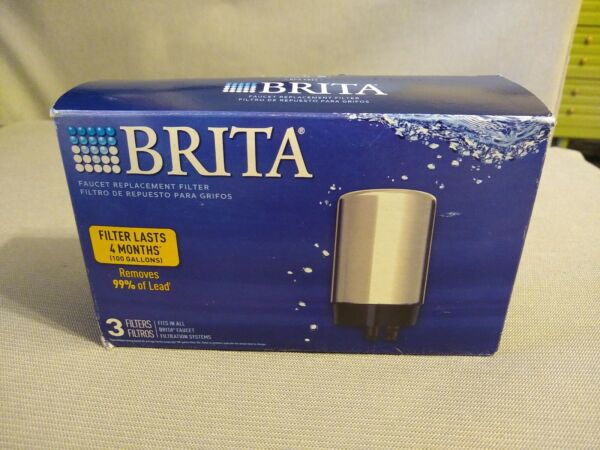 Brita Tap Water Faucet Filtration Replacement Filter 3 pack Chrome FR 200