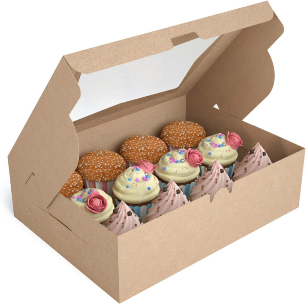 X Chef Cupcake Boxes 12 Count Cupcake Carriers Food Grade Kraft Bakery Boxes