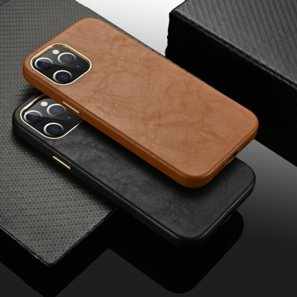 For iPhone 12 Pro Max 12 mini 11 Luxury Genuine Leather Back Phone Case Cover $13.99