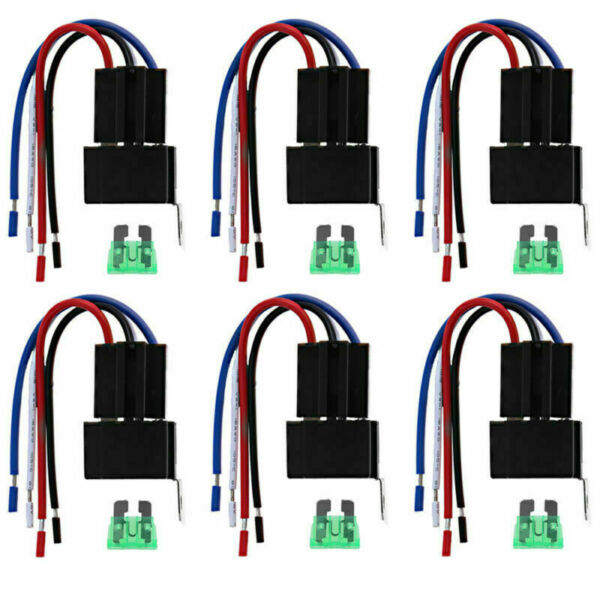 12V 4 Pin Fuse Relay Switch Harness Set SPST 30A 14 AWG Hot Wires 6PCS