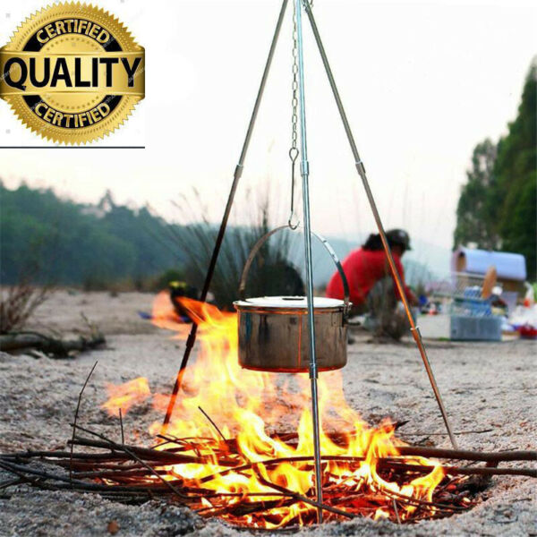Outdoor Cooking Tripod Set Grate Stand Camping BBQ Fire Pit Tool Folding picnic
