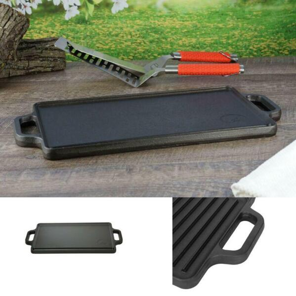 Reversible Cast Iron Grill Griddle Pan 17quot; x 9quot; Hamburger Steak Stove Top Fry