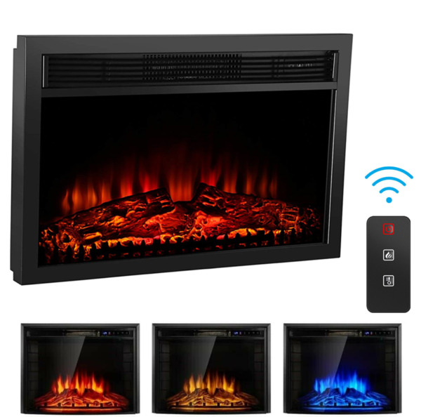 26quot; Fireplace Electric Embedded Insert Heater Glass Log Flame Remote