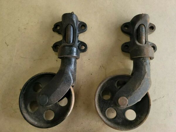 2 original antique Lineberry Factory Cart Cast Swivel Wheel for Coffee Table