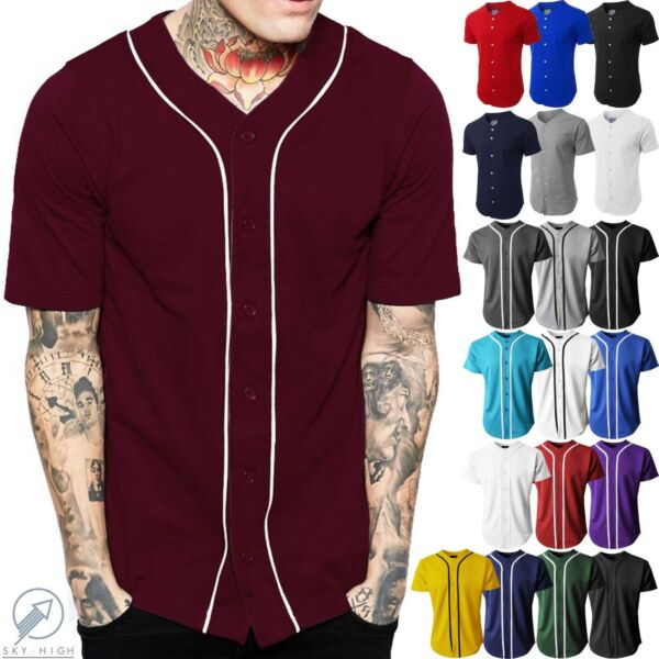 Mens Baseball Jersey Raglan Plain T Shirt Team Uniform Solid Hipster Button Tee $25.99