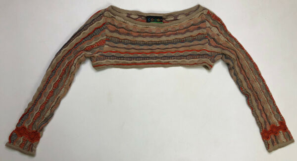 VINTAGE Coogi Sweater Crop Cropped Womens Large Beige Multicolor Rare Australia $94.95