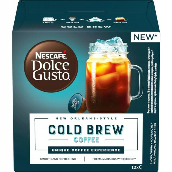 NESCAFE DOLCE GUSTO CAPSULES COLD BREW COFFEE 12 PODS NEW ORLEAN STYLE