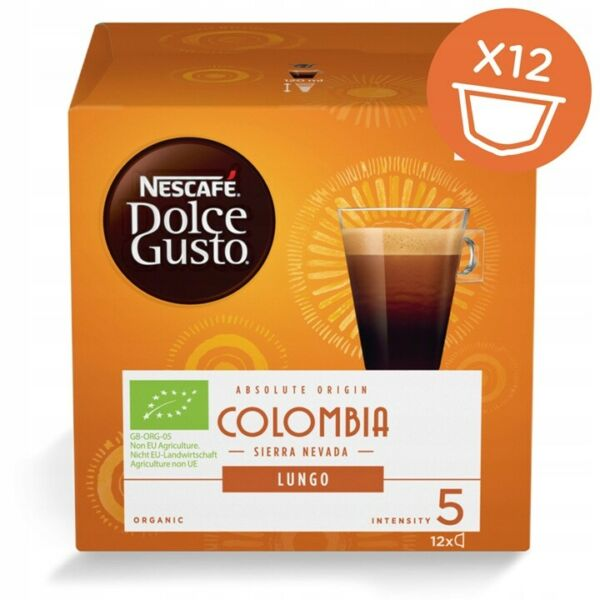 NESCAFE DOLCE GUSTO CAPSULES COLOMBIA LUNGO 12 PODS = 12 COFFEE ORGANIC