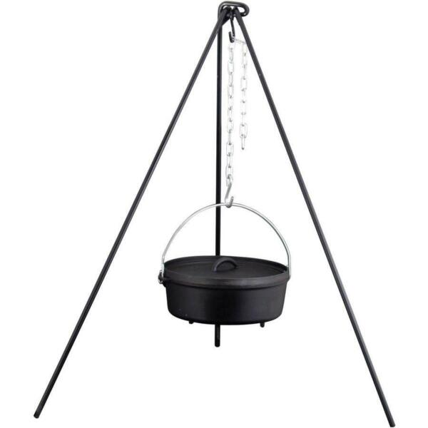 Heavy Duty Cast Iron Dutch Oven Camping Camp Fire Outdoor Cooking Tripod 50