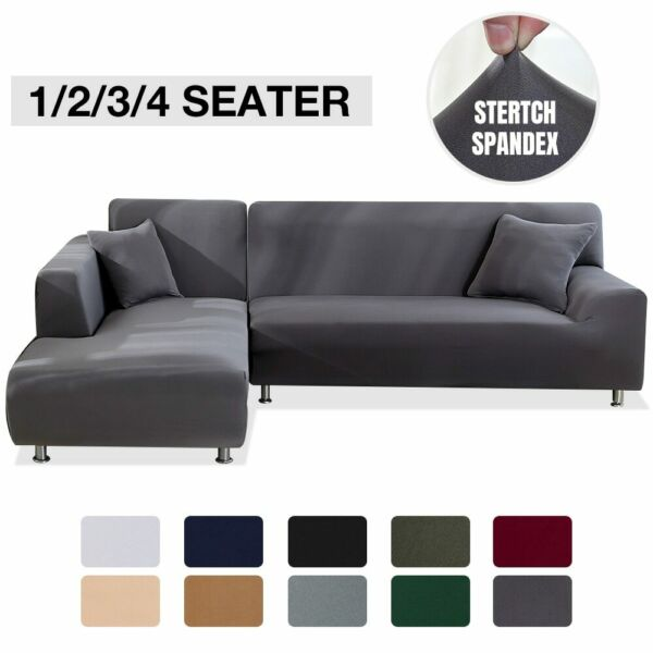Elastic Stretch Sofa Cover 1 2 3 4 Sofa L Shaped Slipcover Couch Covers Universa $20.94