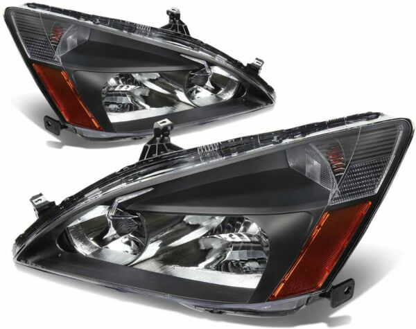 For 2003 2007 Honda Accord 2 4Dr Black Replacement Headlights Lamps LeftRight $69.95