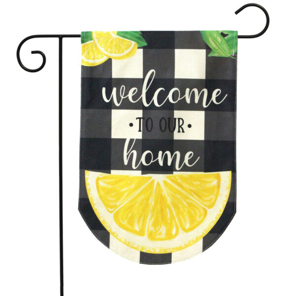 Welcome To Our Home Summer Burlap Garden Flag Lemons Double Sided 12.5quot; x 18quot;