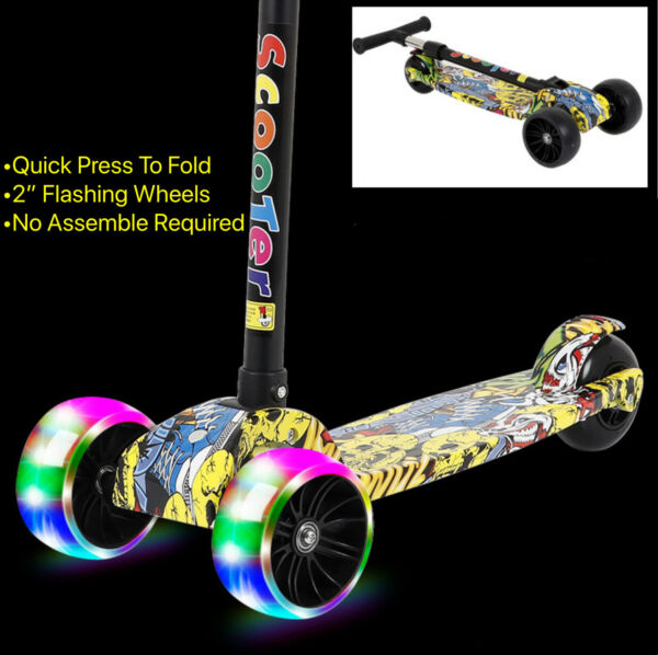Extra Big Flashing Wheels For Kids Adjustable Height Scooter Balance bike 4color $55.00