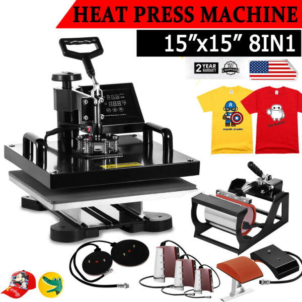 15quot;x15quot; 8 IN 1 Combo T Shirt Heat Press Transfer Machine Sublimation Swing Away $225.00