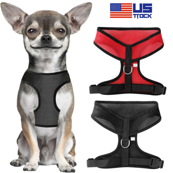 Soft Pet Small Dog Harness Breathable Mesh Adjustable Puppy Cat Walking Vest S L $6.98