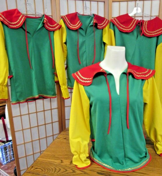 Vintage Kids Adult Christmas Elf Costumes Xmas Party Family 4: 2 M 1 S 1 XL
