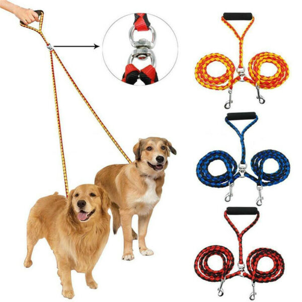 Nylon Double Lead Coupler Twin Dog Two Pet Dog Walking Duplex Leash Nice Fashion $14.49