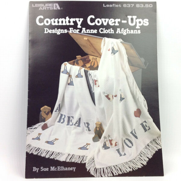Country Cover ups Cross Stitch Pattern for Anne Cloth Afghans Booklet 637 LA $9.99