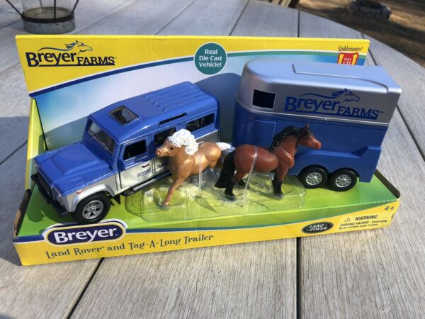 New Breyer Horse Stablemate Farms Land Rover amp; Tag A Long Trailer IN HAND NIB $20.00
