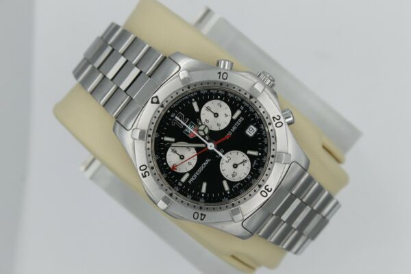 Tag Heuer 2000 Black CK1110 Classic Professional Silver Watch Mens Chronograph