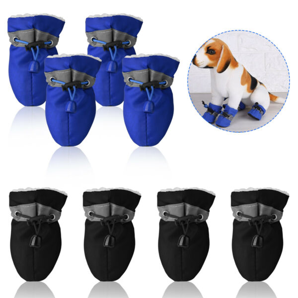 4PK Warm Winter Pet Dog Boots Cotton Anti slip Reflective Puppy Shoes Apparel US $8.96