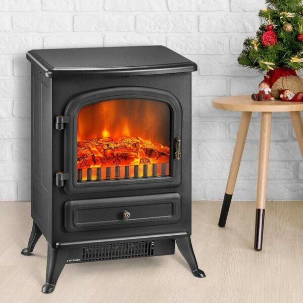 1500W Portable Electric Fireplace Heater Stove with Realistic Flame Effect