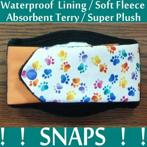 Male Dog Belly Band SNAPS Soft Fleece Absorbant Terry amp; WATERPROOF Pad USA Made $8.99