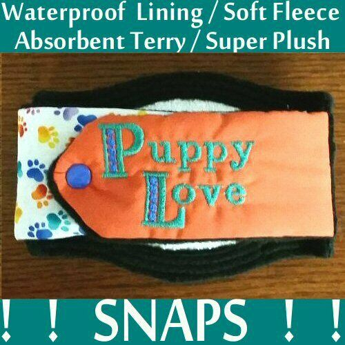 Male Dog Belly Band SNAPS Soft Fleece Absorbant Terry amp; WATERPROOF Pad USA Made $12.99