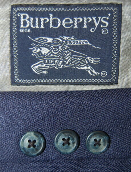 Vintage 38 R Burberry 100 % Silk Royal Navy Blue Herringbone Blazer Made USA