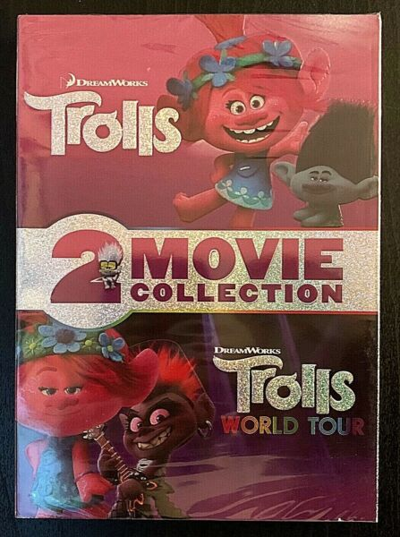 Trolls 1 amp; 2 World Tour DVD 2 Movie Collection DreamWorks New Free Shipping
