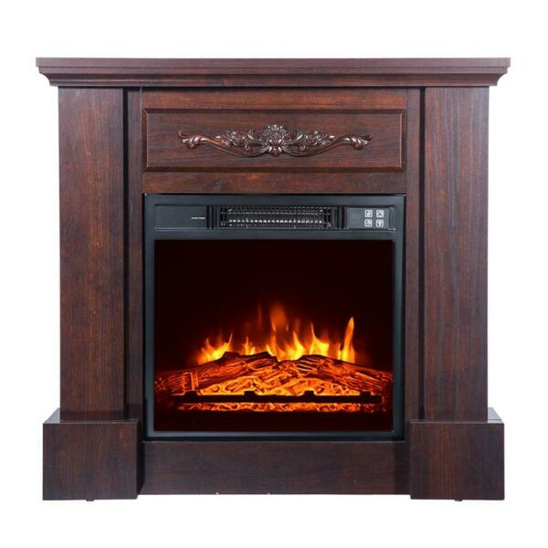 1400W Safe Electric Remote Control Fireplace 18quot; Wooden Cabine LED Wood Flame US