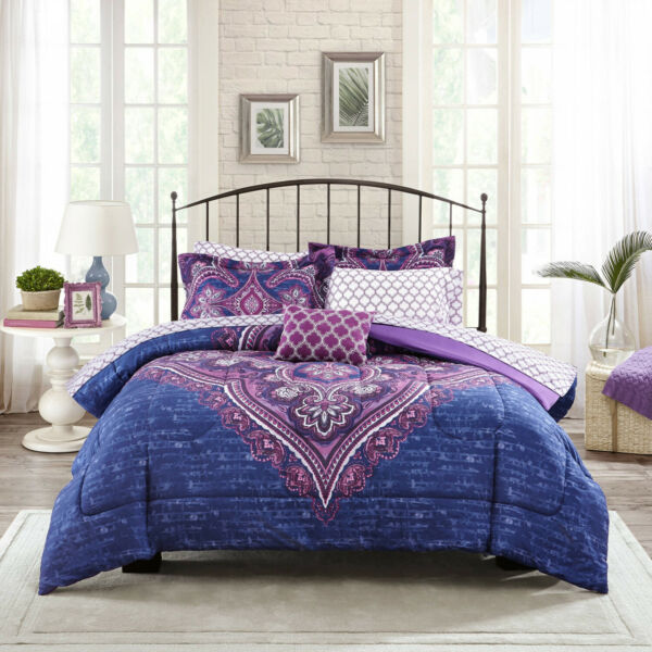 Mainstays Grace Medallion Purple Bed in a Bag Complete Bedding King $61.16
