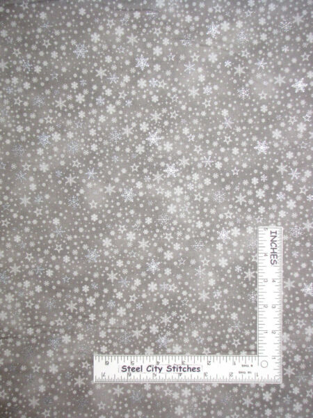 Christmas Snowflake Snow Silver Gild Gray Cotton Fabric Stof 4597M By The Yard
