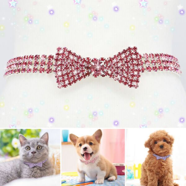 Pet Dog Rhinestone Necklace Puppy Cat Bling Diamante Bowtie Collar for Chihuahua $7.99