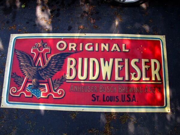 Budweiser Anheuser Busch Bud Light vintage antique style banner poster sign
