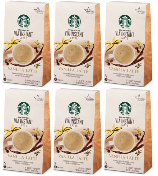 6 Boxes Starbucks VIA Instant Latte Vanilla 5 Packets Each 30 Total BBD 8 2020