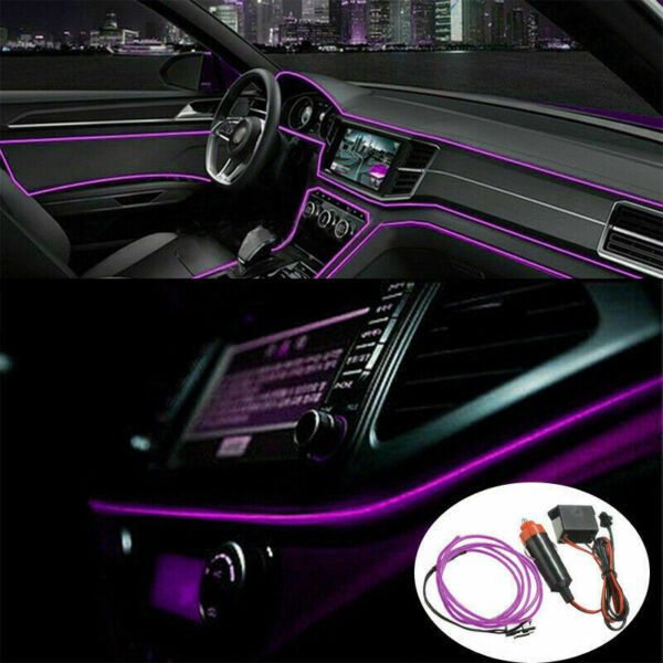 2M Purple LED Car Interior Decor Atmosphere Wire Strip Light Lamp Accessories $8.99
