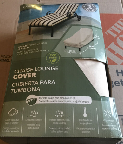 BRAND NEW Chaise Lounge Cover 76quot; x 30quot; x 28quot; Elemental Outdoor Covers NIB $34.99