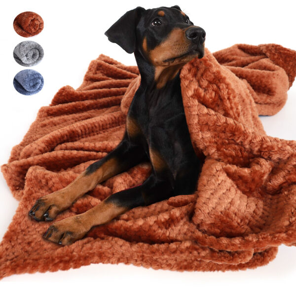 Soft Fleece Dog Blankets for Large Dogs Washable Kennel Sofa Throw Blanket Gray $13.99