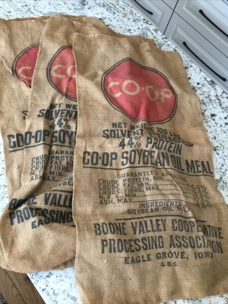 3 Co op Soybean Burlap Sacks