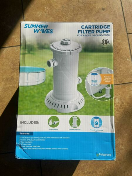Summer Waves Cartridge Filter Pump For Above Ground Pools 1000 GPH $89.99