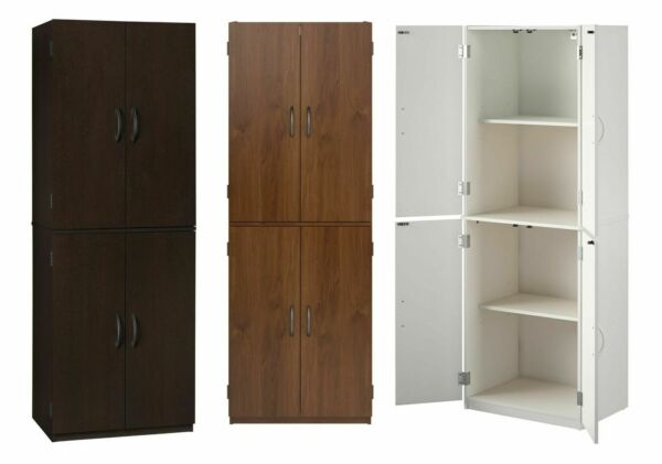 Tall Wood Storage Cabinets Kitchen Pantry Cupboard Organizer Closet Laundry Room